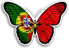 Beautiful Butterfly Design & Portugal Portuguese Country Flag vinyl car sticker