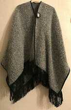 PRIMARK FRINGED SOFT SHAWL / WRAP / CARDIGAN / PONCHO GREY AND BLACK BNWT