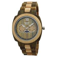 OROLOGIO GREEN TIME SQUARE UOMO WATCH WOOD ZW049D LEGNO FASI LUNARI MOON LUNA
