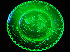 Green Vaseline Wedding day glass plate uranium jewelry saucer yellow neon glows