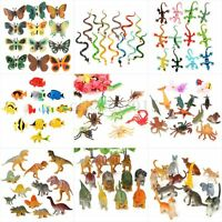 Plastic Wildlife Farm Jungle Animals Insect Bugs Display Model Figure Kids Toys