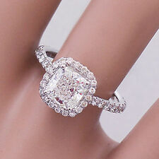 14K White Gold Cushion Forever One Moissanite and Diamond Engagement Ring 2.00ct