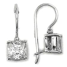 Square Cut CZ French Wire Earrings 7mm Sterling Silver 925 Modern Jewelry Gift