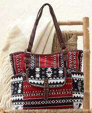 Women's Red Aztec Fabric Tote Bag Pocketbook Handbag South Western Design