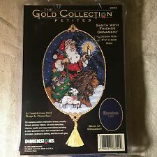 DIMENSIONS GOLD COLLECTION PETITES Santa Friends Ornament NEW CROSS STITCH KIT