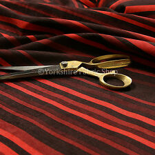 Designer Vertical Striped Pattern Red Soft Chenille Velvet Upholstery Fabrics