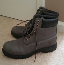 Timberland Mens Boots, Gray Leather with Black Soles, Size 10 M