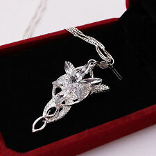 LOTR LORD OF THE RINGS ELVEN ARWEN EVENSTAR NECKLACE SILVER RHINSTONE PENDANT