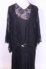 Vintage 1930s 30s Full Bloom Rose Lace Illusion Dress & Jacket XL