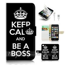 iPhone 5 5S Flip Wallet Case Cover! P0749 Keep Calm Be Boss