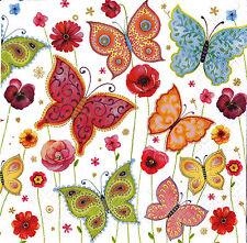 """6 Decoupage Paper Napkins Serviette Butterflies 33x33 cm. 13""""x13"""" 6 pcs #104"""
