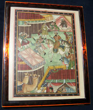 ANTIQUE PERSIAN MIDDLE EASTERN HAND PAINTED SILK PAINTING WITH LEAPORD FRAME