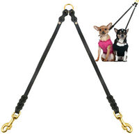 2 Way Braided Genuine Leather Coupler Dog Leash Leads for Dogs Solid Brass Snap