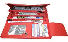 LEDER Geldtasche NEW YORK rot für 2 WÄHRUNGEN Langformat Geldbörse Portemonnaie