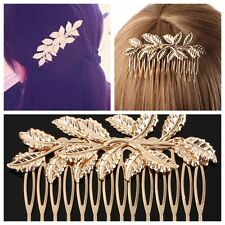 2pcs Wedding Party Bridal Clover Flower Leaf Long Hair Piece Comb Clip Diamante