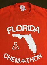 True Vintage 80s 90s Florida Chemathon Chemistry Graphic Orange Jerzees T-Shirt