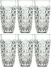 RCR Enigma Crystal Hi Ball Tumblers Set of 6 400ml Cut Glass Water Juice Glasses