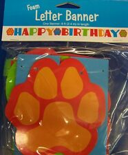 Happy Birthday Puppy Dog Paw Foam Banner Party Decor 8 ft long Animal themed