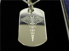 Silver Medical Alert Necklace Diabetic ,Heart condition Warfarin Free engraving