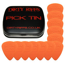 12 x Dunlop Nylon Midi Guitar Picks / Plectrums - 0.67mm Orange In A Pick Tin