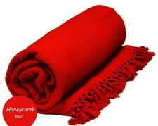 Extra large 229cm x 254cm nid d'abeille waffle sofa / canapé / lit throw rouge