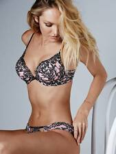 Victoria's Secret Bombshell Push Up Pink Embellished Lace 36C Bra & Panty Set
