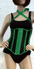 Sexy Lace Up Burlesque Masquerade Underbust Striped Corset Costume S-6XL New USA
