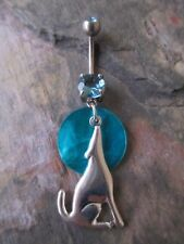 Silver Howling Wolf Moon Mother of Pearl Shell Dangle Belly Navel Ring-Turquoise