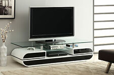 Furniture Of America Evos Glossy Black And White Finish TV Stand With Glass Top