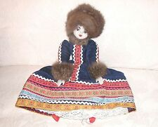 Vintage Russian Costume Doll = Real Fur on Costume - 17""