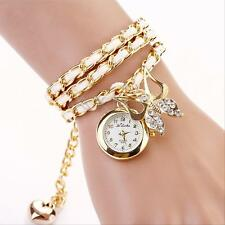 Lady Around Leather Bracelet Watch Fashion Women Quartz Wrist Watch Weave Chain