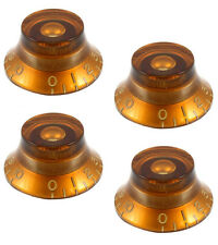AMBER TOP HAT BELL KNOBS FOR GIBSON LES PAUL GUITAR USA & CTS (SET OF 4) *NEW*