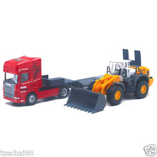 Affluent Town 1:64 Diecast SCANIA Carrier Trailer and Large Bulldozer RED Truck
