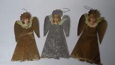 3 Late 1800's DRESDEN DIECUT ANGEL Christmas Ornaments
