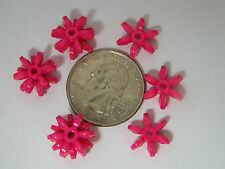 100 14mm Hot Pink Star Starburst Snowflake Cartwheel Sunburst Beads