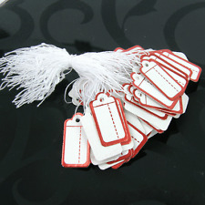 100 White SWING TAGS RED BORDER RECTANGLE  Jewellery Pricing 26 x 13mm Christmas