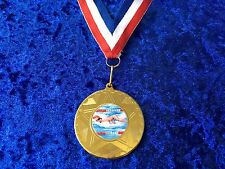 Set of 10 Swimming Award Medal on Ribbon Swimmers Gala Club Sponsor Event