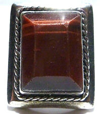 RED TIGERS EYE STERLING SILVER MENS SOUVENIR MEXICO MEXICAN BIKER SHIELD RING
