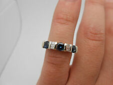 Gorgeous Modern 14k Solid White Gold Ceylon Sapphire & Diamond Band Ring