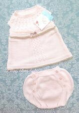 Spanish Baby Girls Pink Knitted Top / Dress Knickers  Outfit 3-6 Months