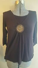 Crave Apparel Maternity Blouse Brown beaded design Medium M 3/4 sleeves CUTE