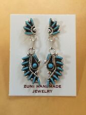 Native American Zuni Sterling Needle Point Turquoise Earrings Philander Gia.  #1
