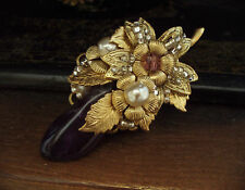 Vintage Uncut Amethyst and Pearl Brooch with Gold Flowers. Miriam Haskell Style