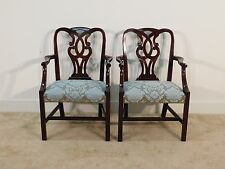 PAIR Baker Furniture Mahogany Museum Pretzel Back Chippendale Armchairs
