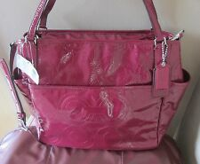 Coach Baby Diaper Laptop Business Pink Leather Stitched Tote Messenger Bag Purse