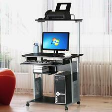 Mobile Home Office Computer Desk w/ Printer Shelf Stand Study Table  Black