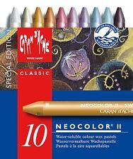 CARAN D'ACHE NEOCOLOR II TIN of 10 water soluble wax pastels - Metallic Specials