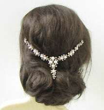 Ivory White Silver Gold Pearl Bridal Hair Vine Headpiece Diamante Headband 365