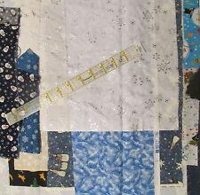Scrap Cotton Fabric Bundle BLUE Snowman Christmas remnant craft lot 6 ounce snow