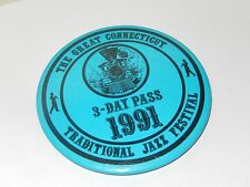 1991 THE GREAT CONNECTICUT TRADITIONAL JAZZ FESTIVAL PIN BADGE 3 DAY PASS